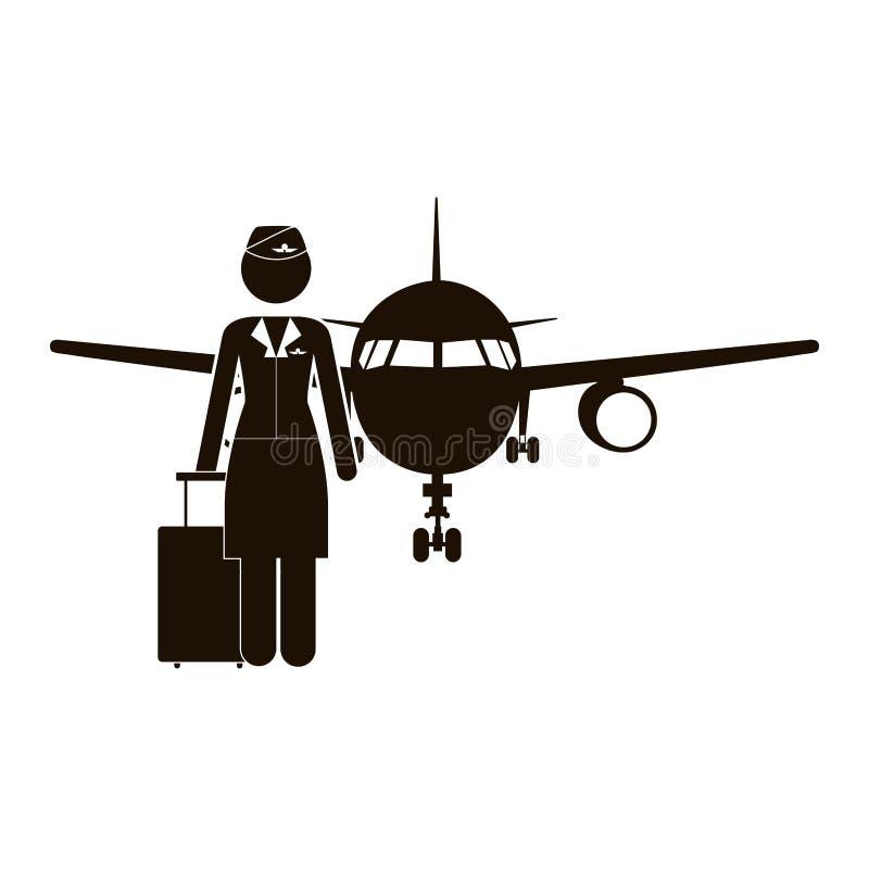 Μαύροι αεροσυνοδός και αεροπλάνο σκιαγραφιών διανυσματική απεικόνιση