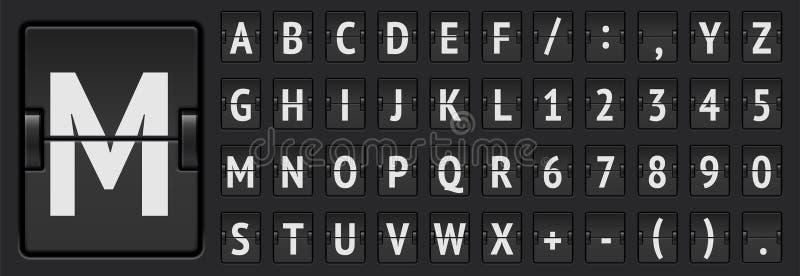 Μαύροι αλφάβητο και αριθμοί πινάκων βαθμολογίας αερολιμένων μηχανικοί στην αναχώρηση επίδειξης ή τη διανυσματική απεικόνιση πληρο διανυσματική απεικόνιση