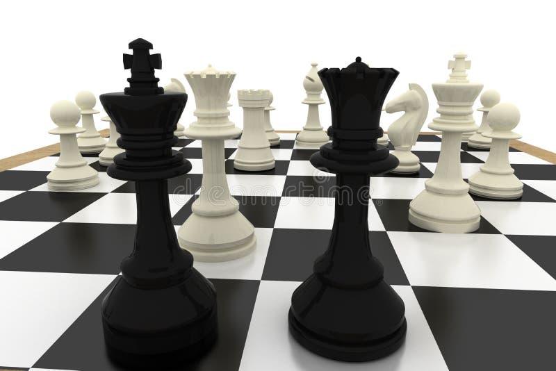 Μαύροι βασιλιάς και βασίλισσα με τα άσπρα κομμάτια διανυσματική απεικόνιση