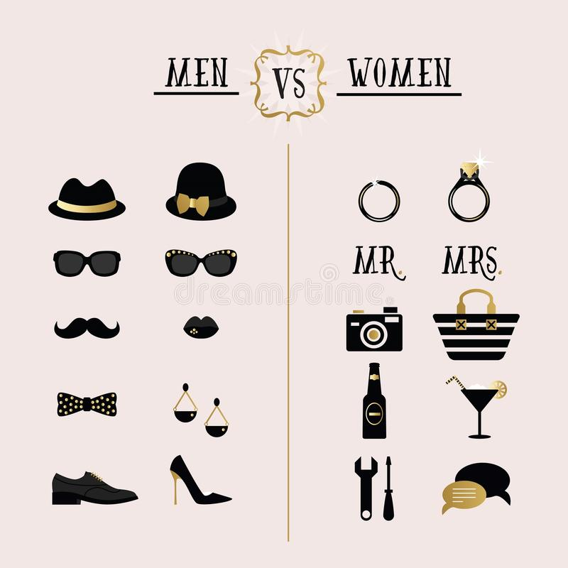 Μαύροι και χρυσοί άνδρες hipster εναντίον των εξαρτημάτων γυναικών και των εικονιδίων σχεδίου ελεύθερη απεικόνιση δικαιώματος