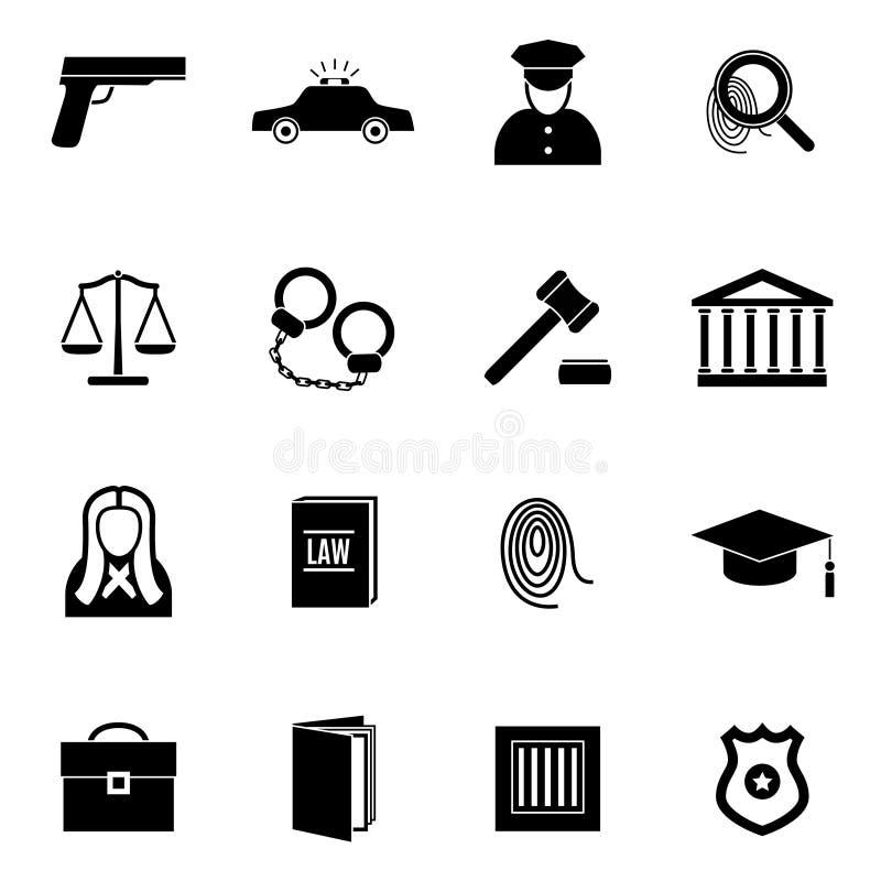 Μαύροι νόμος σκιαγραφιών και σύνολο εικονιδίων δικαιοσύνης διάνυσμα ελεύθερη απεικόνιση δικαιώματος