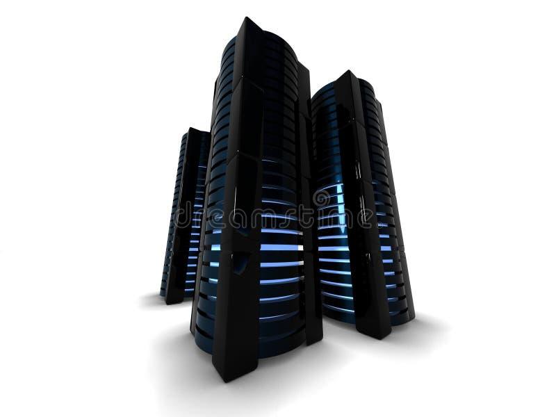 Μαύροι πύργοι κεντρικών υπολογιστών διανυσματική απεικόνιση