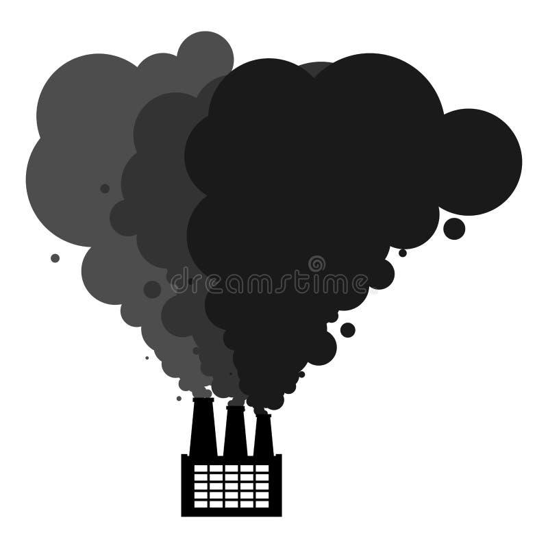 Μαύροι σωλήνες καπνού του εργοστασίου Οικολογική καταστροφή βιομηχανικός ελεύθερη απεικόνιση δικαιώματος