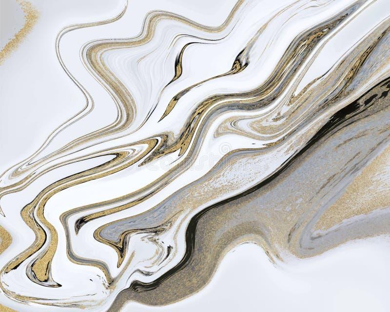 Μαύρος, άσπρος και χρυσός ακτινοβολήστε υγρή μαρμάρινη σύσταση Μελάνι που χρωματίζει το αφηρημένο σχέδιο Καθιερώνον τη μόδα υπόβα απεικόνιση αποθεμάτων