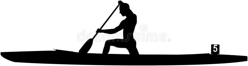 Μαύρος αθλητής σκιαγραφιών rower στο κανό απεικόνιση αποθεμάτων