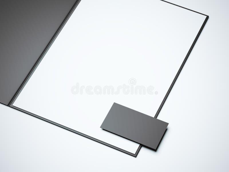 Μαύρος ανοιγμένος φάκελλος με το κενό άσπρο φύλλο τρισδιάστατη απόδοση ελεύθερη απεικόνιση δικαιώματος