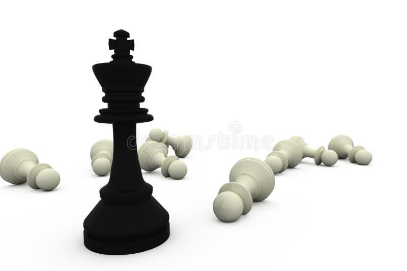 Μαύρος βασιλιάς που στέκεται μεταξύ των πεσμένων άσπρων κομματιών διανυσματική απεικόνιση