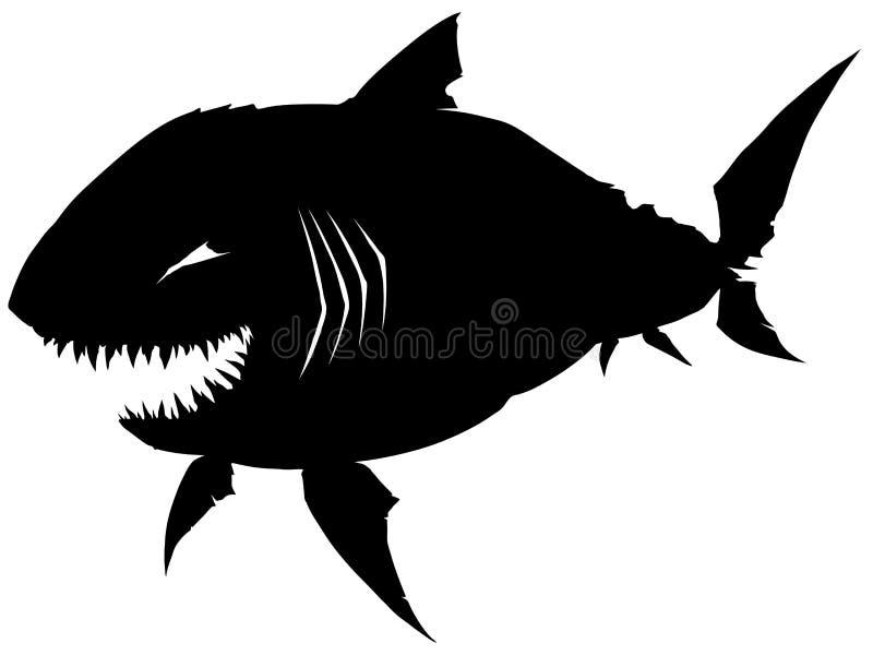 Μαύρος γραφικός καρχαρίας σκιαγραφιών με τα αιχμηρά δόντια ελεύθερη απεικόνιση δικαιώματος