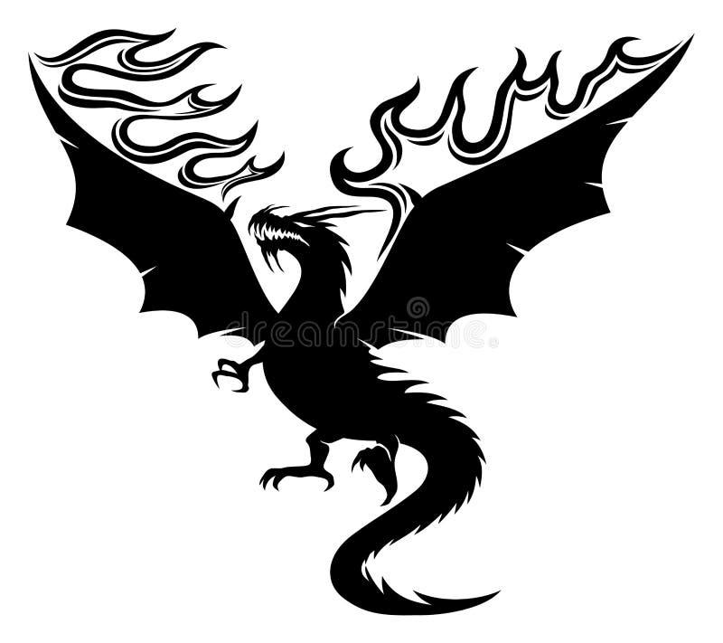 Μαύρος δράκος με τα φλογερά φτερά απεικόνιση αποθεμάτων