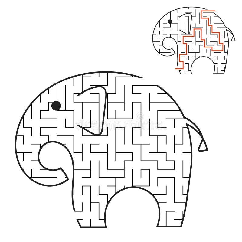 Μαύρος ελέφαντας του Toon λαβύρινθων Φύλλα εργασίας παιδιών Σελίδα δραστηριότητας Γρίφος παιχνιδιών για τα παιδιά ζωικές άγρια πε διανυσματική απεικόνιση
