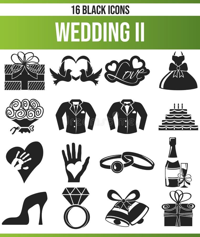 Μαύρος καθορισμένος γάμος ΙΙ εικονιδίων διανυσματική απεικόνιση