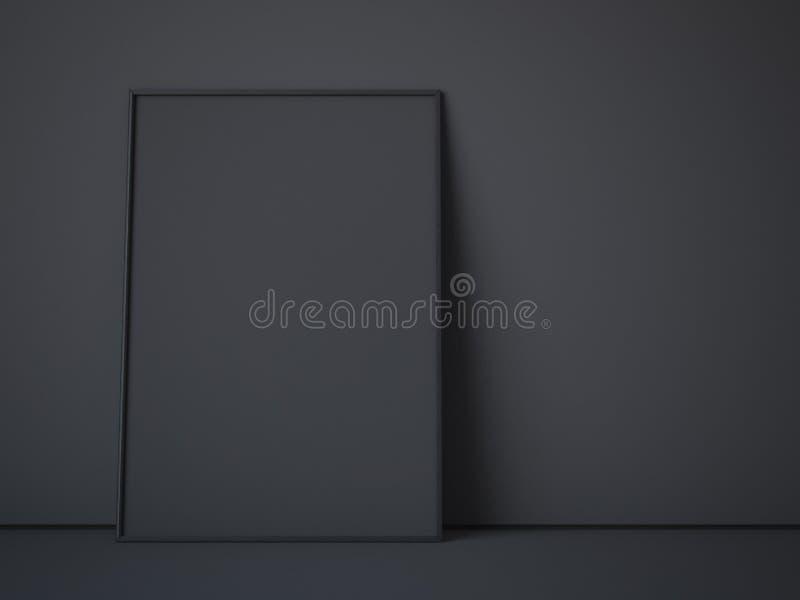 Μαύρος καμβάς στο σκοτεινό εσωτερικό τρισδιάστατη απόδοση στοκ φωτογραφία με δικαίωμα ελεύθερης χρήσης