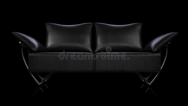 Μαύρος καναπές δέρματος γοητείας πέρα από τη μαύρη ανασκόπηση στοκ φωτογραφίες