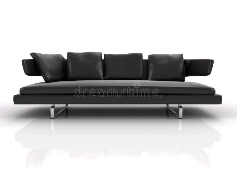 Μαύρος καναπές δέρματος ελεύθερη απεικόνιση δικαιώματος