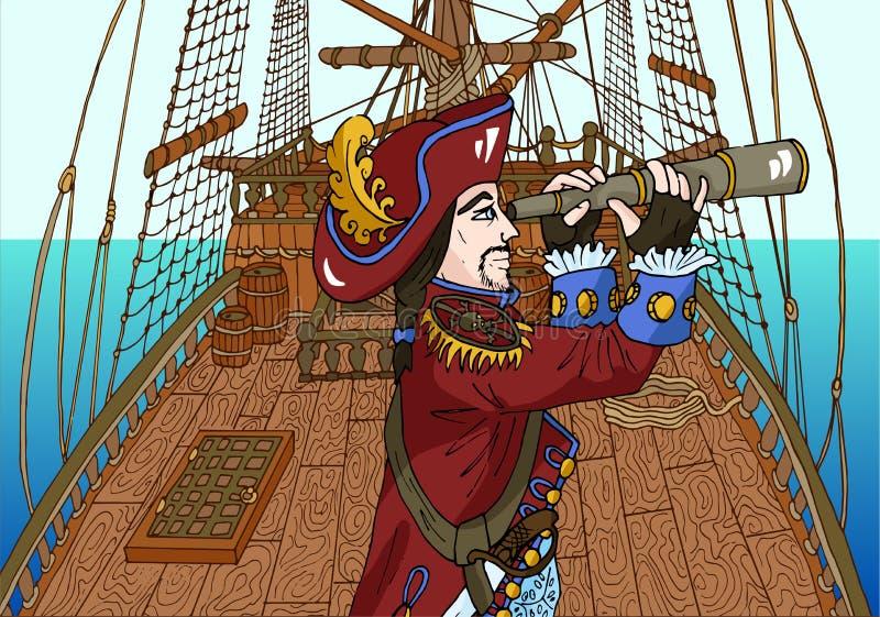 Μαύρος καπετάνιος πειρατών γενειάδων στο πλέοντας κατάστρωμα πλοίων ελεύθερη απεικόνιση δικαιώματος