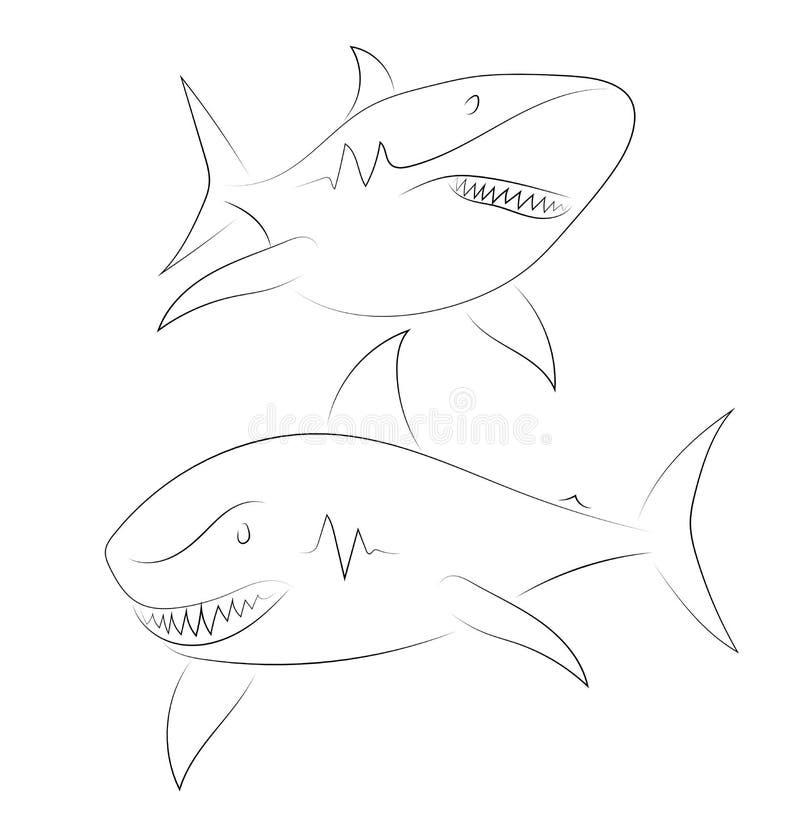 Μαύρος καρχαρίας γραμμών στο άσπρο υπόβαθρο Καρχαρίας ελαφρύ ύφος σκίτσων lap-top λάμψης Vecto ελεύθερη απεικόνιση δικαιώματος