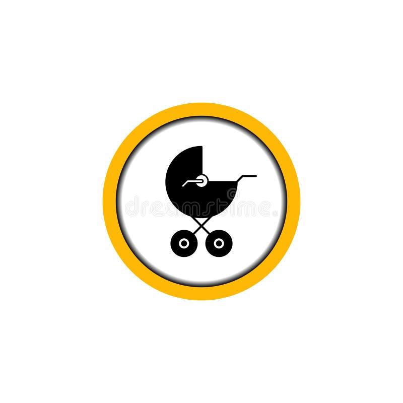 Μαύρος κύκλος μεταφορών μωρών ζώνης σημαδιών πιάτων διανυσματική απεικόνιση