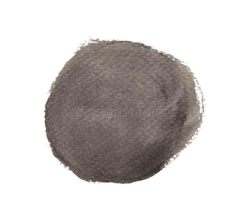 Μαύρος κύκλος watercolor που απομονώνεται στο άσπρο υπόβαθρο, σύσταση χρωμάτων χεριών διανυσματική απεικόνιση