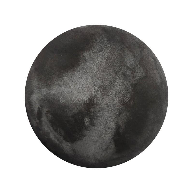 Μαύρος κύκλος Watercolor διανυσματική απεικόνιση