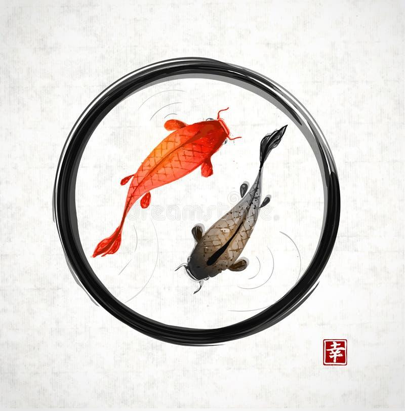 Μαύρος κύκλος enso zen με τους κόκκινους και μαύρους κυπρίνους koi διανυσματική απεικόνιση