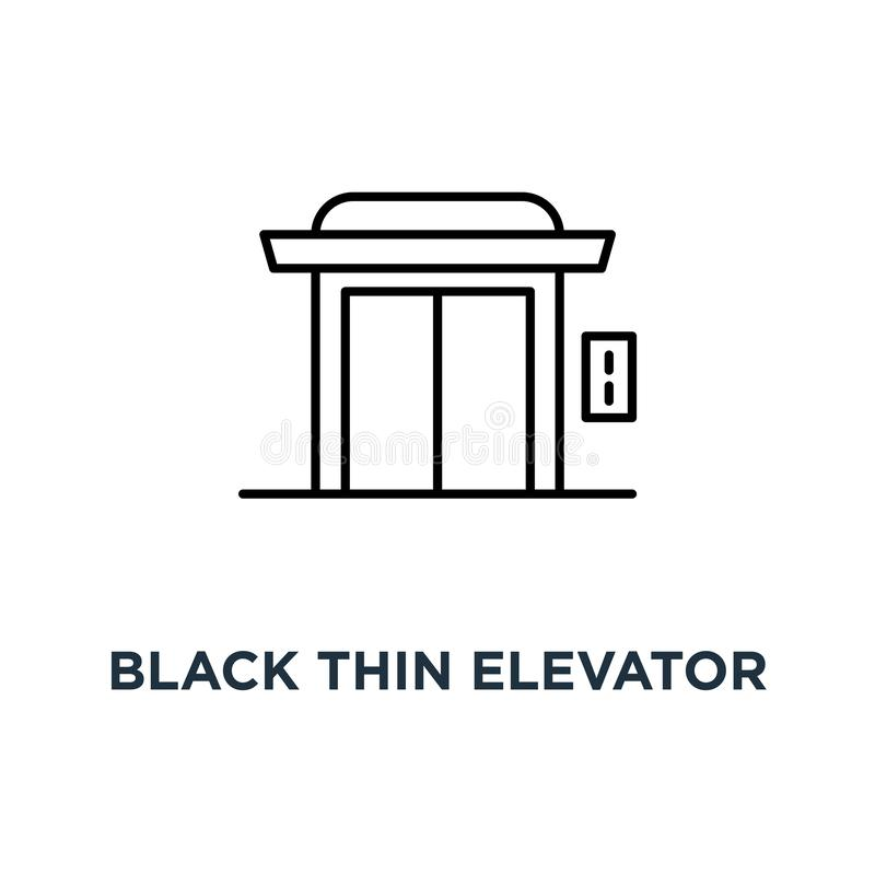μαύρος λεπτός ανελκυστήρας για το εικονίδιο σπιτιών ή ξενοδοχείων, συμβόλων απλή γραμμική τάσης σύγχρονη logotype έννοια σχεδίου  απεικόνιση αποθεμάτων