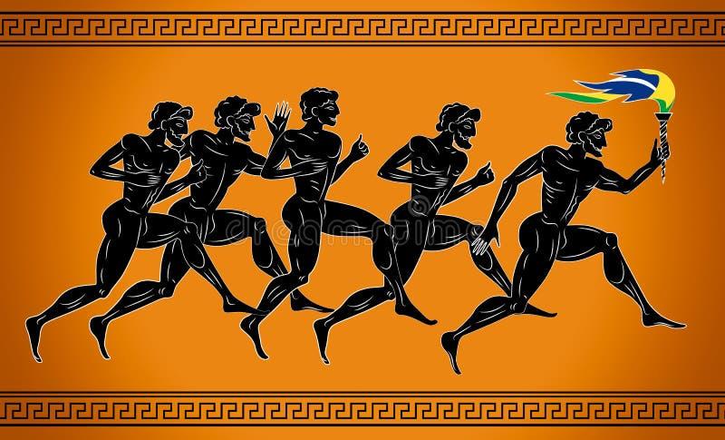 Μαύρος-λογαριασμένοι δρομείς με το φανό στα χρώματα της βραζιλιάνας σημαίας Απεικόνιση στο ύφος αρχαίου Έλληνα ελεύθερη απεικόνιση δικαιώματος