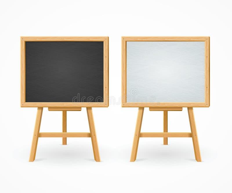 Μαύρος πίνακας και λευκό που τίθενται Easel στην μπροστινή άποψη διάνυσμα ελεύθερη απεικόνιση δικαιώματος