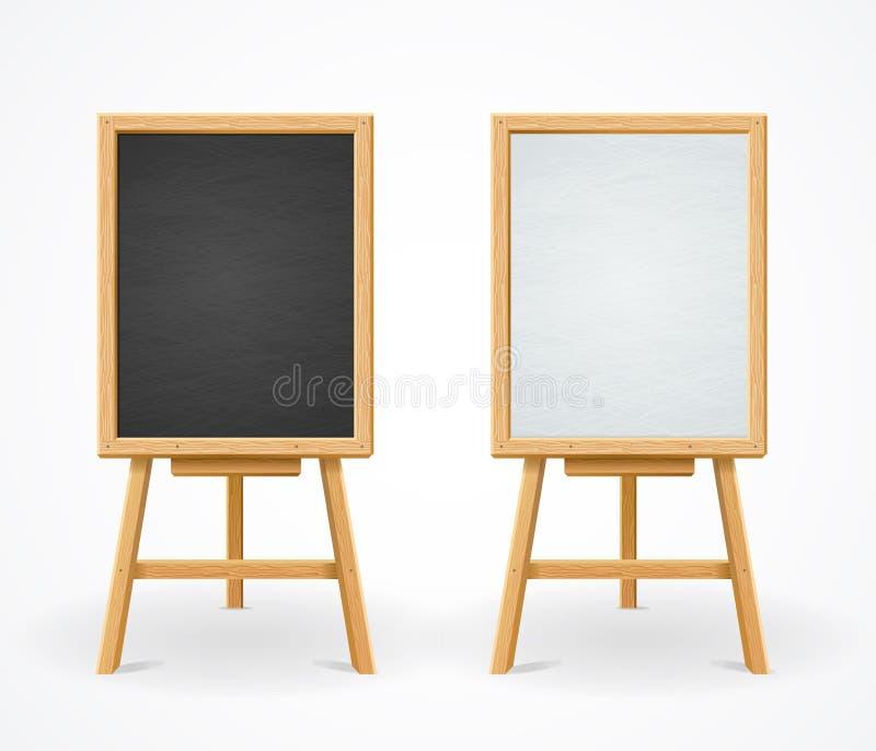 Μαύρος πίνακας και λευκό που τίθενται Easel στην μπροστινή άποψη διανυσματική απεικόνιση