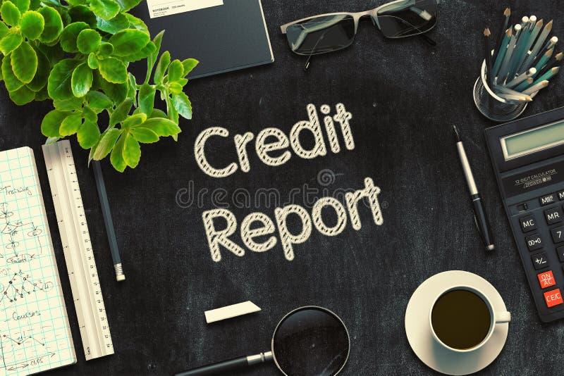 Μαύρος πίνακας κιμωλίας με την πιστωτική έκθεση τρισδιάστατη απόδοση διανυσματική απεικόνιση