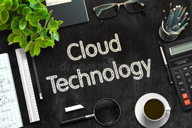 Μαύρος πίνακας κιμωλίας με την τεχνολογία σύννεφων τρισδιάστατη απόδοση στοκ φωτογραφία