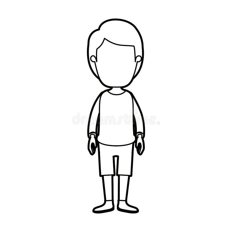 Μαύρος παχύς απρόσωπος τύπος καρικατουρών περιγράμματος με το hairstyle που κοιτάζει στο μέτωπο ελεύθερη απεικόνιση δικαιώματος