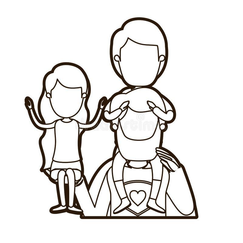 Μαύρος παχύς περιγράμματος καρικατουρών απρόσωπος μισός ήρωας μπαμπάδων σωμάτων έξοχος με το κορίτσι σε ετοιμότητα του και το αγό ελεύθερη απεικόνιση δικαιώματος