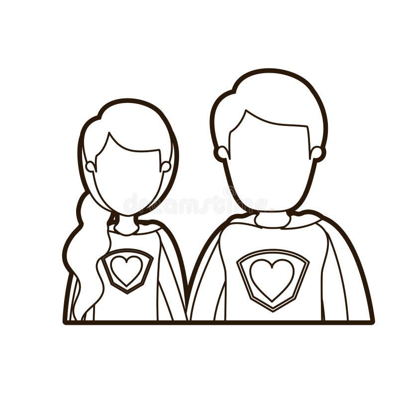 Μαύρος παχύς περιγράμματος καρικατουρών απρόσωπος μισός θηλυκός και αρσενικός έξοχος ήρωας ζευγών σωμάτων νέος με το σύμβολο καρδ απεικόνιση αποθεμάτων