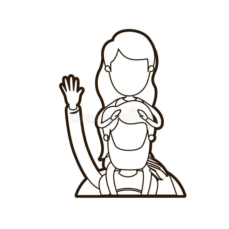 Μαύρος παχύς περιγράμματος καρικατουρών απρόσωπος μισός χαιρετισμός ηρώων μπαμπάδων σωμάτων έξοχος με το κορίτσι στην πλάτη του απεικόνιση αποθεμάτων