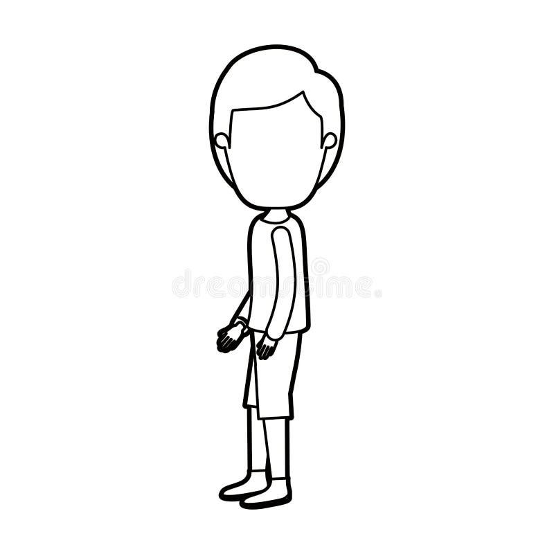 Μαύρος παχύς περιγράμματος τύπος σωμάτων καρικατουρών απρόσωπος πλήρης με το hairstyle που κοιτάζει στην πλευρά ελεύθερη απεικόνιση δικαιώματος
