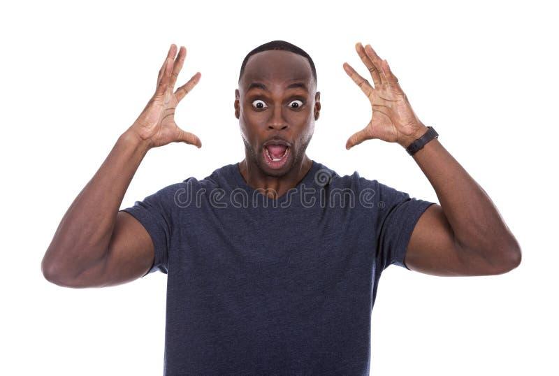 Μαύρος που συγκλονίζεται όμορφος με τον ενθουσιασμό στοκ εικόνα με δικαίωμα ελεύθερης χρήσης