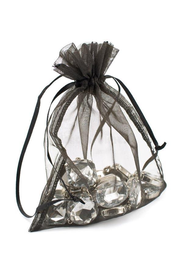 μαύρος σάκος δώρων διαμαντιών στοκ εικόνες