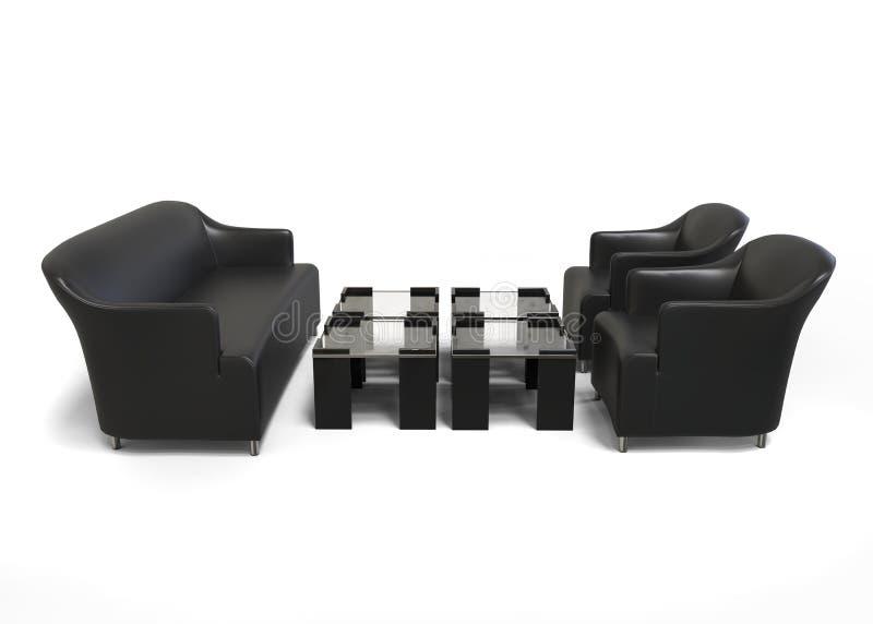 Μαύρος σύγχρονος καναπές με δύο μαύρα πολυθρόνες και τραπεζάκια σαλονιού στοκ εικόνες