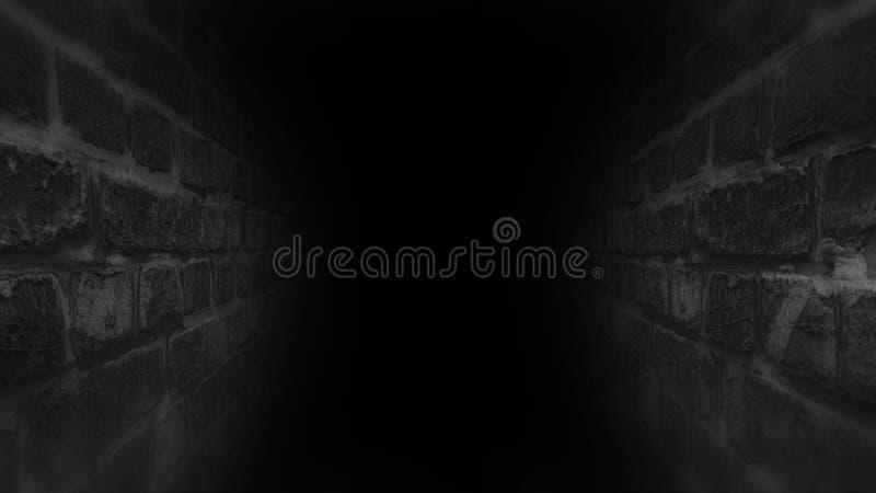 Μαύρος τρομακτικός διάδρομος Τρέξιμο στο σκοτεινό διάδρομο στοκ εικόνες