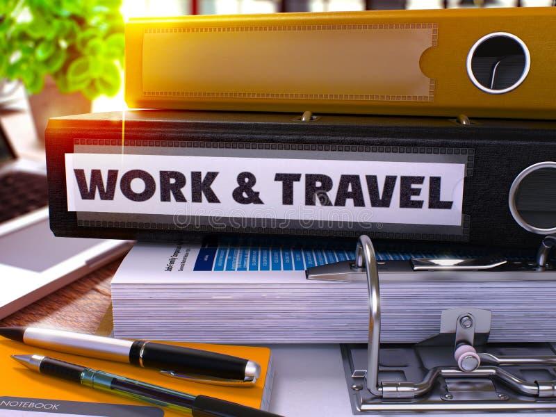 Μαύρος φάκελλος γραφείων με την εργασία και το ταξίδι επιγραφής τρισδιάστατος ελεύθερη απεικόνιση δικαιώματος