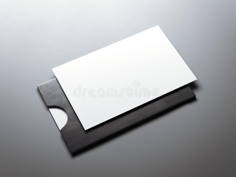 Μαύρος φάκελος και άσπρη επαγγελματική κάρτα τρισδιάστατη απόδοση απεικόνιση αποθεμάτων