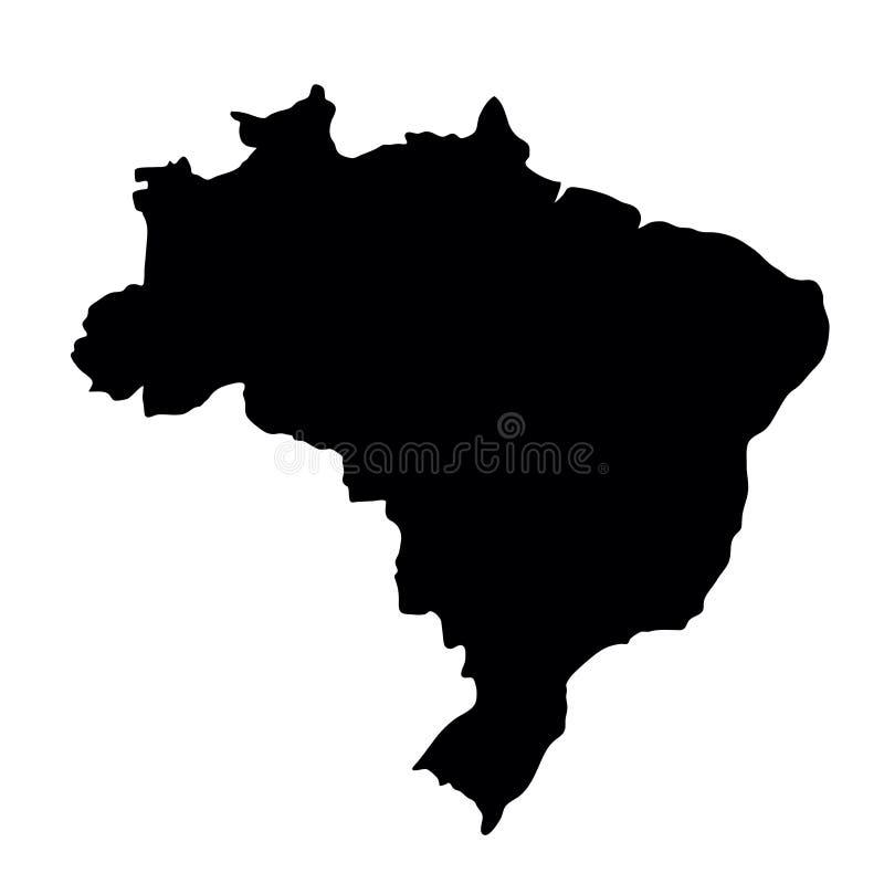 Μαύρος χάρτης συνόρων χωρών σκιαγραφιών της Βραζιλίας στο άσπρο backgrou διανυσματική απεικόνιση