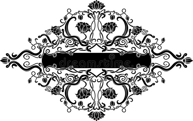 μαύρος filigree floral εμβλημάτων απεικόνιση αποθεμάτων