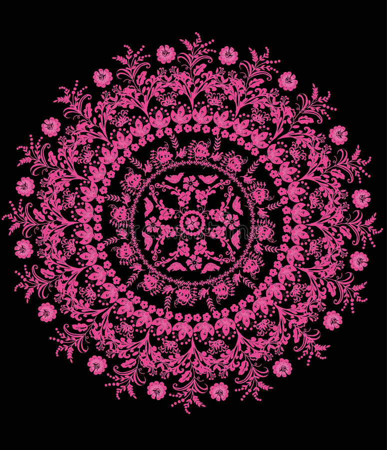 μαύρος floral ρόδινος κύκλος &sigma απεικόνιση αποθεμάτων
