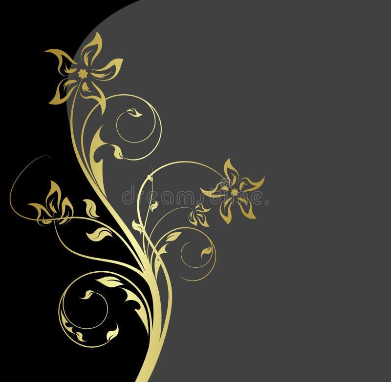 μαύρος floral χρυσός ανασκόπησης διανυσματική απεικόνιση