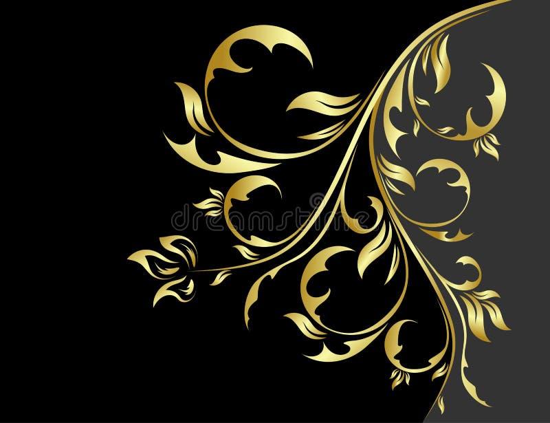 μαύρος floral χρυσός ανασκόπησ&et ελεύθερη απεικόνιση δικαιώματος
