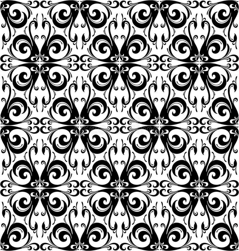 Μαύρο άνευ ραφής σχέδιο πουλιών κύκνων τροπικό Μαύρη άσπρη απεικόνιση διανυσματική απεικόνιση