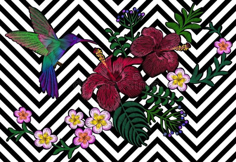 Μαύρο άσπρο άνευ ραφής υπόβαθρο λωρίδων κεντητικής λουλουδιών της Χαβάης Hibiscus plumeria διακοσμήσεων τυπωμένων υλών μόδας φύλλ ελεύθερη απεικόνιση δικαιώματος