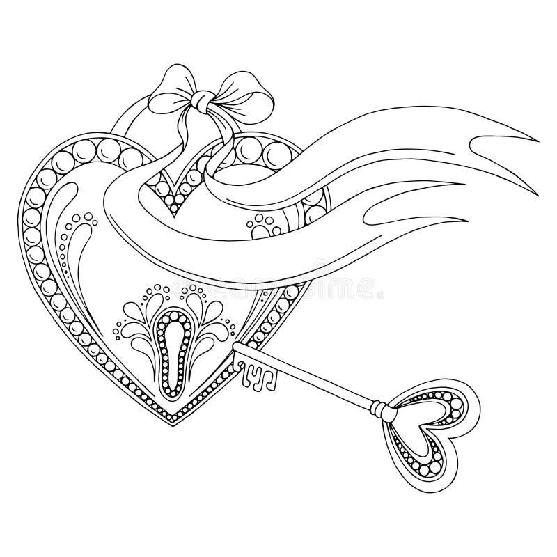 Μαύρο άσπρο γραφικό διάνυσμα απεικόνισης υποβάθρου σκίτσων doodle κλειδιών κλειδαριών καρδιών σχεδίων διανυσματική απεικόνιση