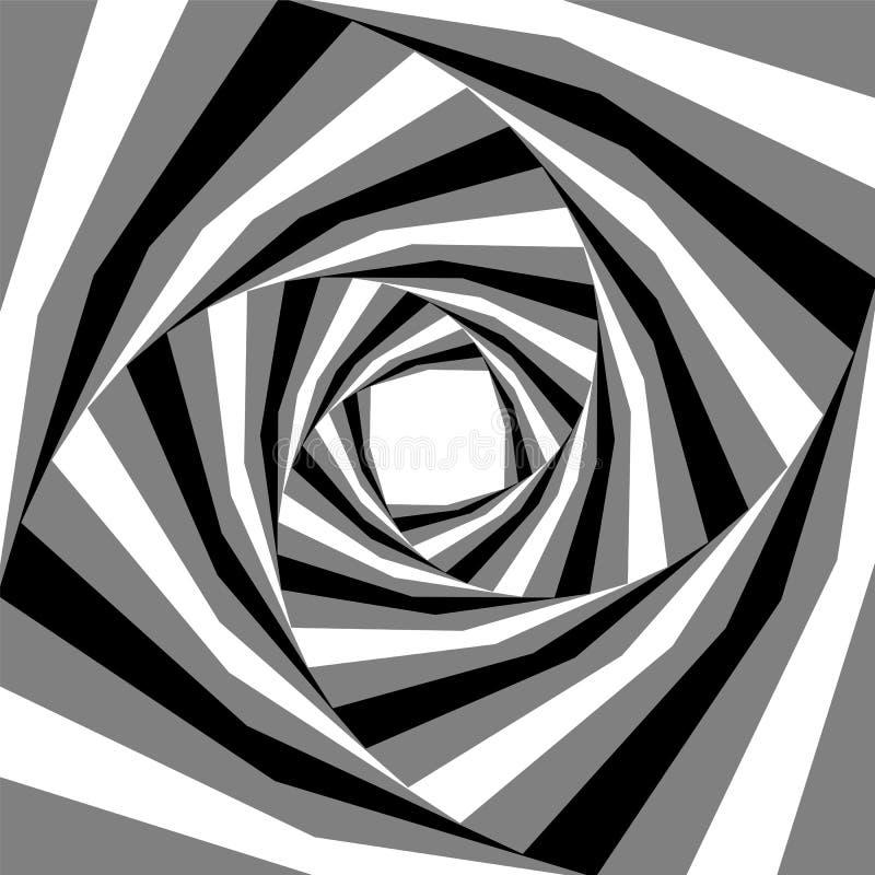 Μαύρο, άσπρο και γκρίζο ριγωτό να επεκταθεί ελίκων από το κέντρο Οπτική επίδραση του βάθους και του όγκου Κατάλληλος για το σχέδι απεικόνιση αποθεμάτων